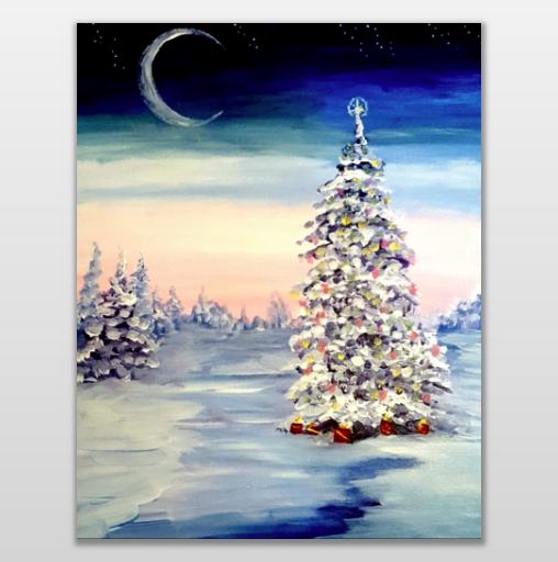 Paint Nite Christmas in the Snow